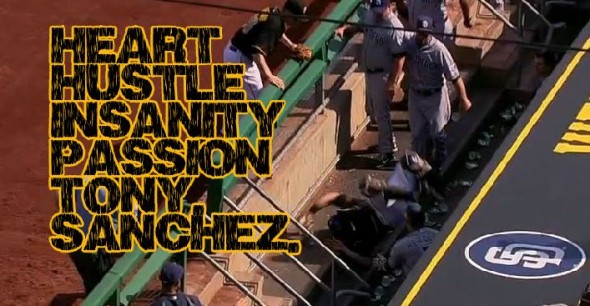 Pirates catcher Tony Sanchez landed on the concrete in the Padres dugout.